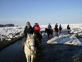 流氷と乗馬を同時に体験できる「原生牧場のホーストレッキング」